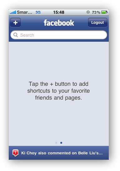 Facebook - Home Screen Addition