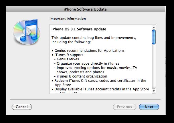 iPhone 3.1 Update Notice