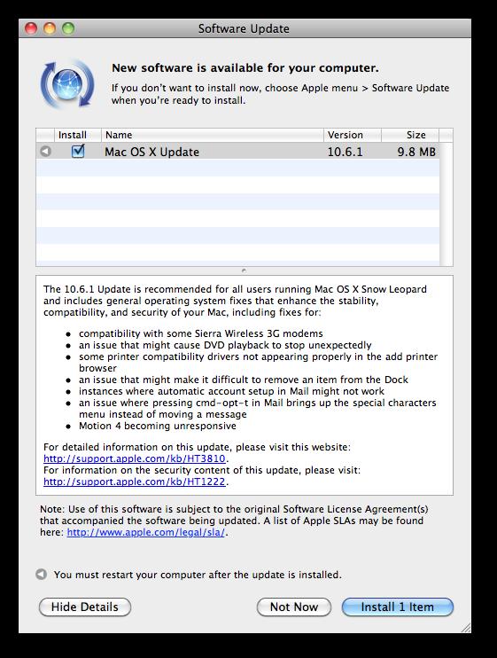 OS 10.6.1 Update Screen